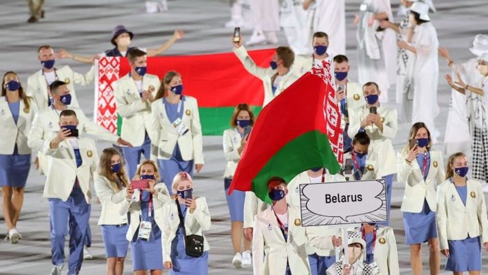 Olympic delegation of Belarus parade into the Olympic Stadium during the opening ceremony of Tokyo 2020 Olympic Games in Tokyo, Japan, July 23, 2021.