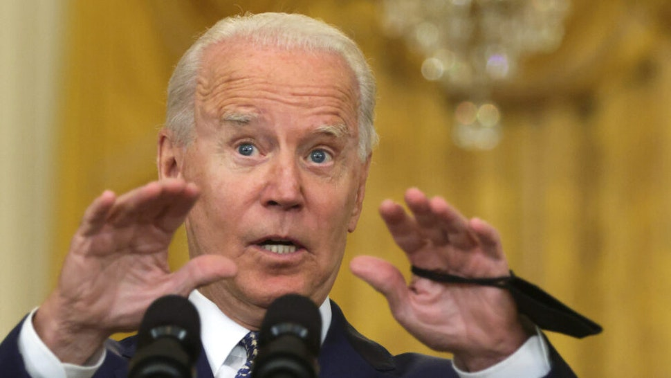 WASHINGTON, DC - AUGUST 10: U.S. President Joe Biden speaks during an event on Senate passage of the Infrastructure Investment and Jobs Act in the East Room of the White House August 10, 2021 in Washington, DC. The Senate has passed the bipartisan infrastructure bill with a vote of 69-30.