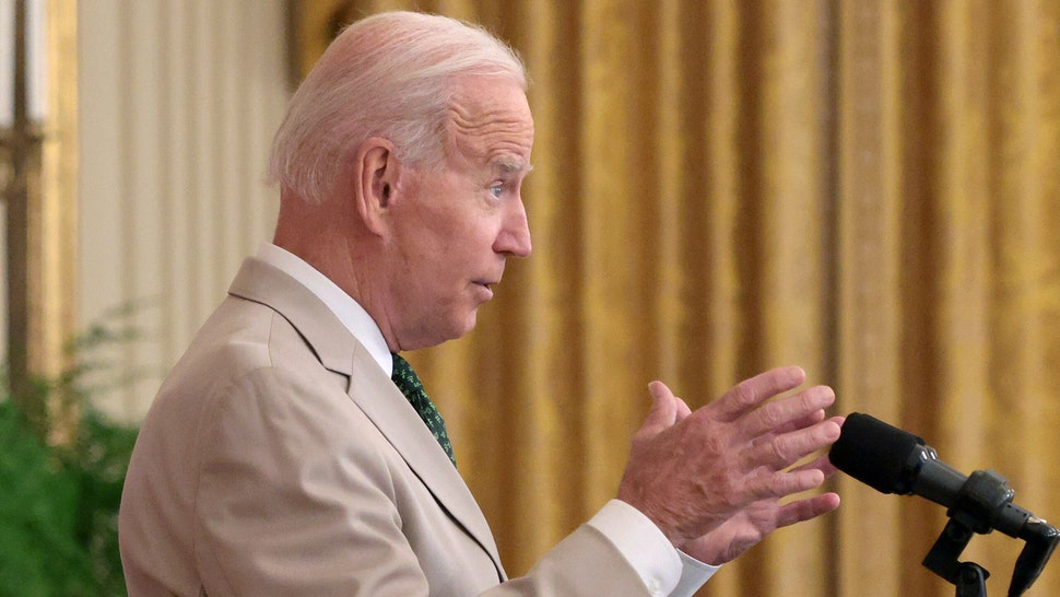 WASHINGTON, DC - AUGUST 06: U.S. President Joe Biden speaks during an event on the July jobs numbers in the East Room of the White House August 6, 2021 in Washington, DC. The U.S. economy added 943,000 jobs in the month of July.