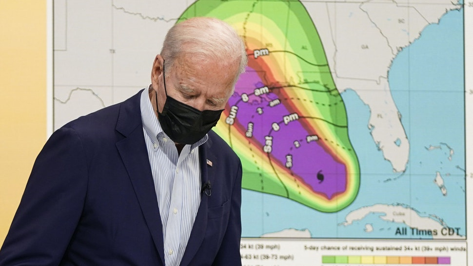 WASHINGTON, DC - AUGUST 28: U.S. President Joe Biden arrives for a briefing on the preparations being made by FEMA for Hurricane Ida in the Eisenhower Executive Office Building on August 28, 2021 in Washington, DC. Hurricane Ida is expected to hit the Gulf Coast with life threatening storm surge and catastrophic winds on Sunday.