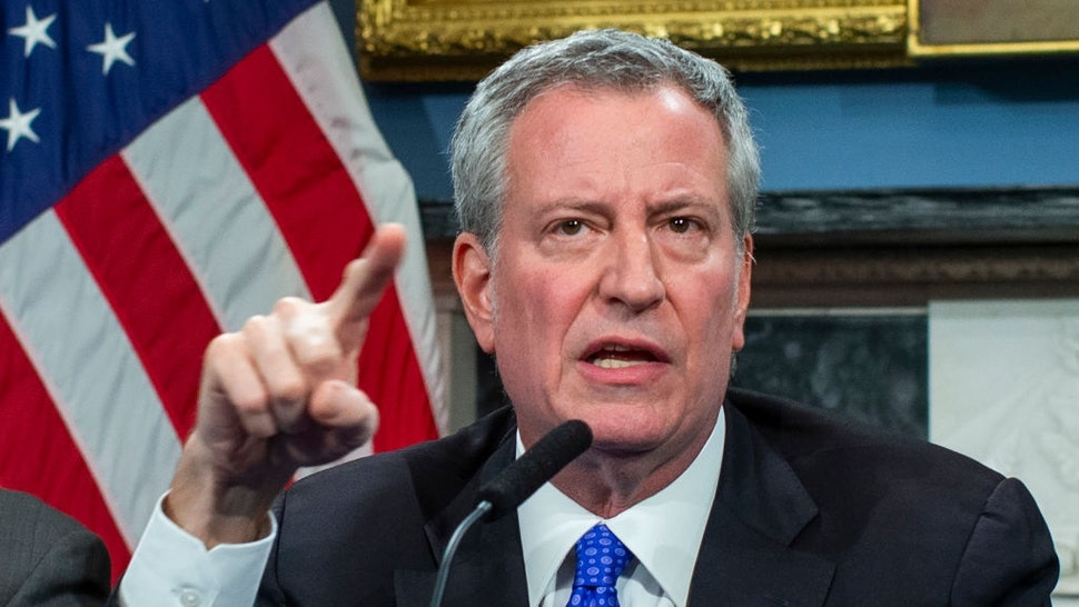 NEW YORK, NY - JANUARY 03: New York Mayor Bill de Blasio speaks to the media during a press conference at City Hall on January 3, 2020 in New York City.