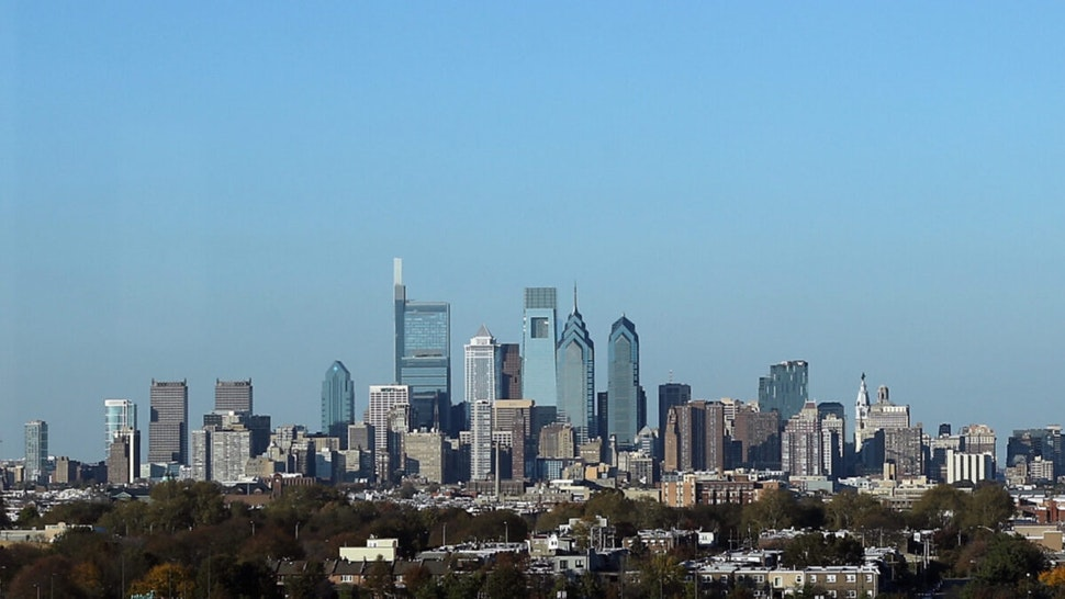 A view of center city Philadelphia as photographed from the Wells Fargo Center prior to the game between the Philadelphia Flyers and the Toronto Maple Leafs on November 02, 2019 in Philadelphia, Pennsylvania.