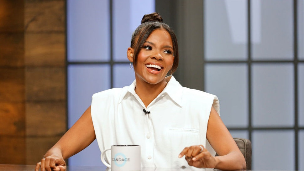 """NASHVILLE, TENNESSEE - AUGUST 09: Candace Owens hosts the """"Candace"""" Hosted By Candace Owens show on August 09, 2021 in Nashville, Tennessee. The show will air on Tuesday, August 10, 2021. (Photo by Jason Kempin/Getty Images)"""