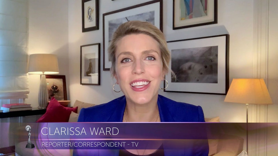 """VARIOUS CITIES - SEPTEMBER 10: In this screengrab, Clarissa Ward accepts the Best Reporter/Correspondent award for """"CNN International,"""" at the 45th Anniversary Gracie Awards on September 10, 2020."""
