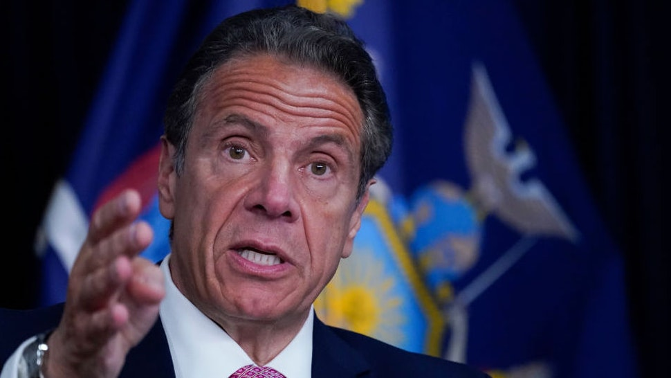 NEW YORK, NEW YORK - MAY 10: New York Gov. Andrew Cuomo speaks during a news conference on May 10, 2021 in New York City. It was announced that both SUNY and CUNY will require students to get COVID-19 vaccines before the next academic year.