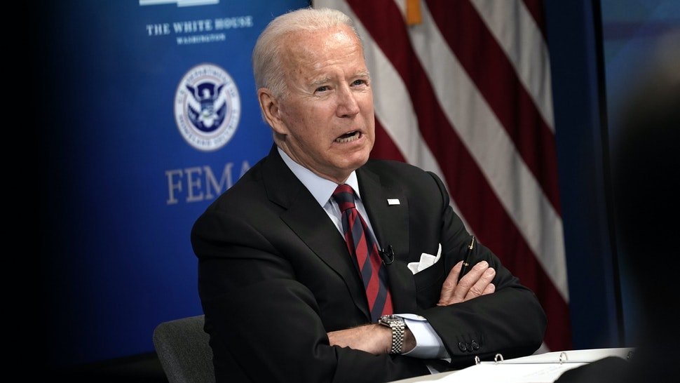 U.S. President Joe Biden speaks during a virtual Hurricane Ida briefing at the White House in Washington, D.C, U.S, on Monday, Aug. 30, 2021. Bidenvowed Monday to continue providing federal support in the aftermath of Hurricane Ida, which made landfall south of New Orleans and has left more than a million homes and businesses without power.