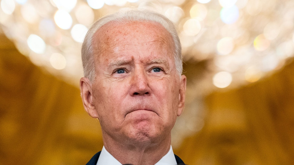 WASHINGTON, DC - AUGUST 12: President Joe Biden delivers remarks on the administrations Build Back Better agenda to lower prescription drug prices in the East Room of the White House complex on Thursday, Aug. 12, 2021 in Washington, DC.