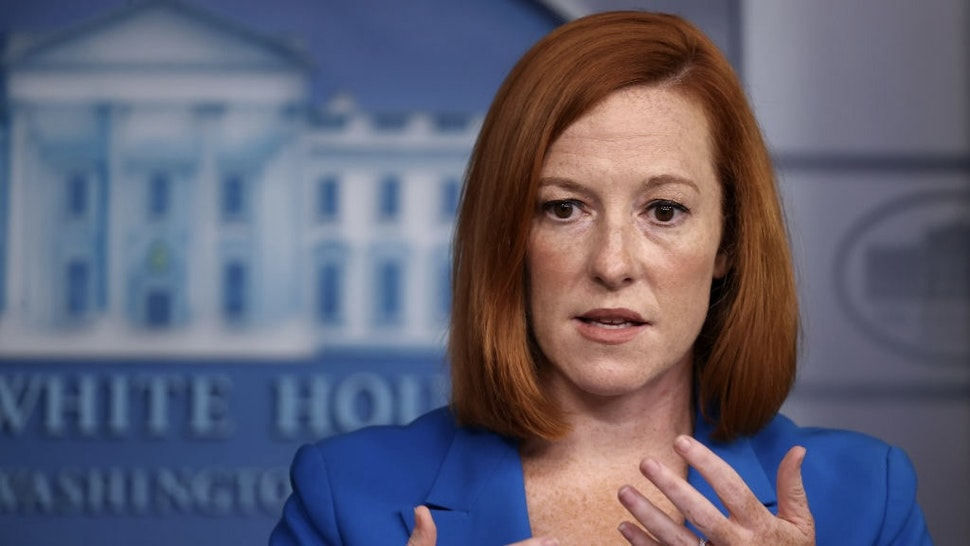 White House Press Secretary Jen Psaki Holds Daily Briefing WASHINGTON, DC - AUGUST 30: White House Press Secretary Jen Pskai talks to reporters during the daily news conference in the Brady Press Briefing Room at the White House on August 30, 2021 in Washington, DC. Psaki fielded questions about Hurricane Ida, the ongoing pull out of U.S. military forces and their allies from Afghanistan and other topics. (Photo by Chip Somodevilla/Getty Images) Chip Somodevilla / Staff via Getty Images