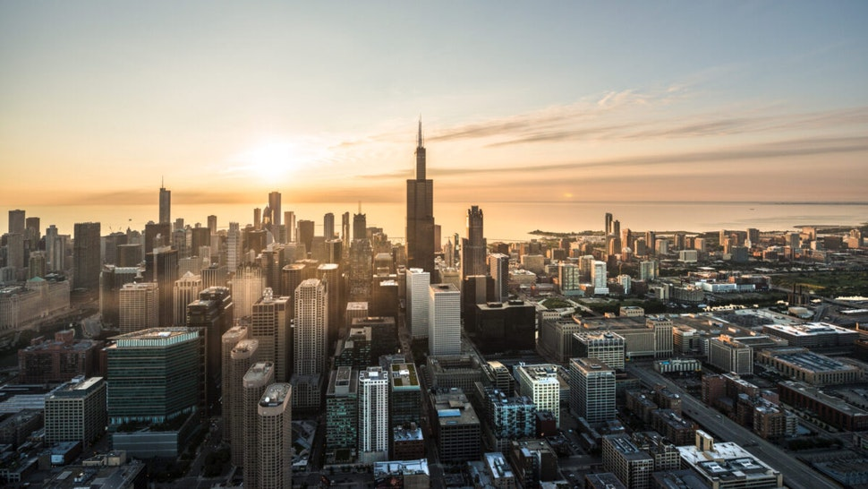 Aerial shot of Chicago waterfront at sunrise.