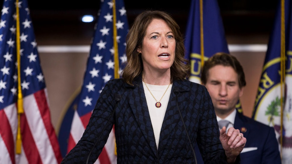 """Rep. Cindy Axne (D-IA) speaks during news conference discussing the """"Shutdown to End All Shutdowns (SEAS) Act"""" on January 29, 2019 in Washington, DC."""
