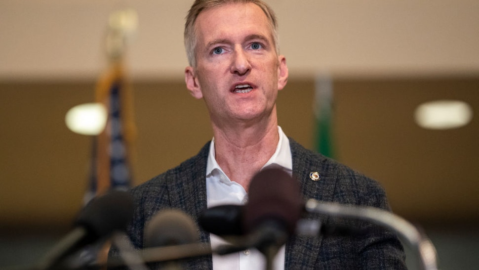 Portland Mayor Ted Wheeler speaks to the media at City Hall on August 30, 2020 in Portland, Oregon. A man was fatally shot Saturday night as a Pro-Trump rally clashed with Black Lives Matter protesters in downtown Portland.