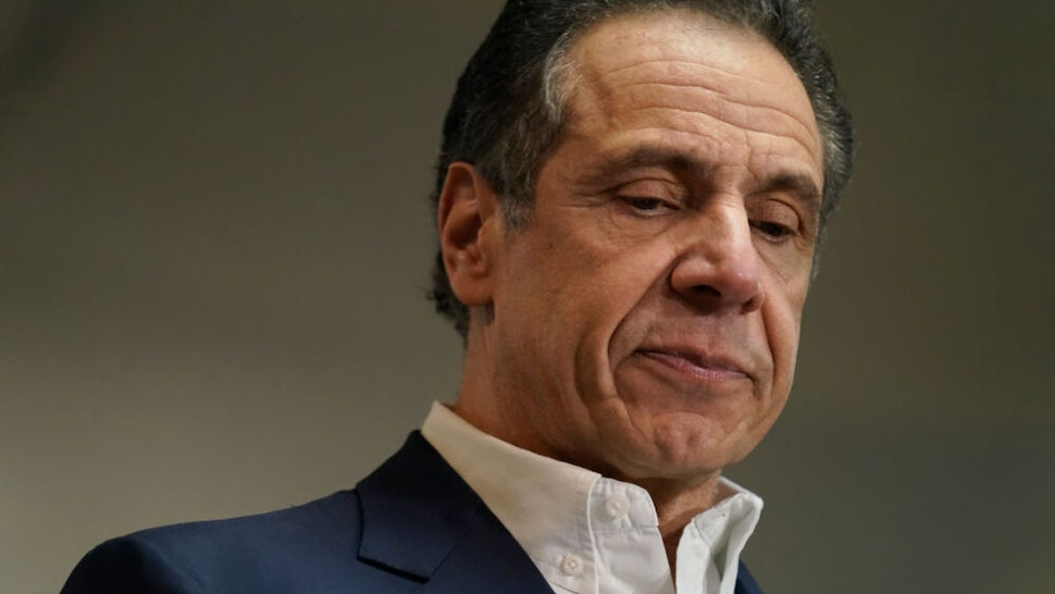 NEW YORK, NY - MARCH 17: New York Governor Andrew Cuomo speaks before getting vaccinated at the mass vaccination site at Mount Neboh Baptist Church in Harlem on March 17, 2021 in New York City.