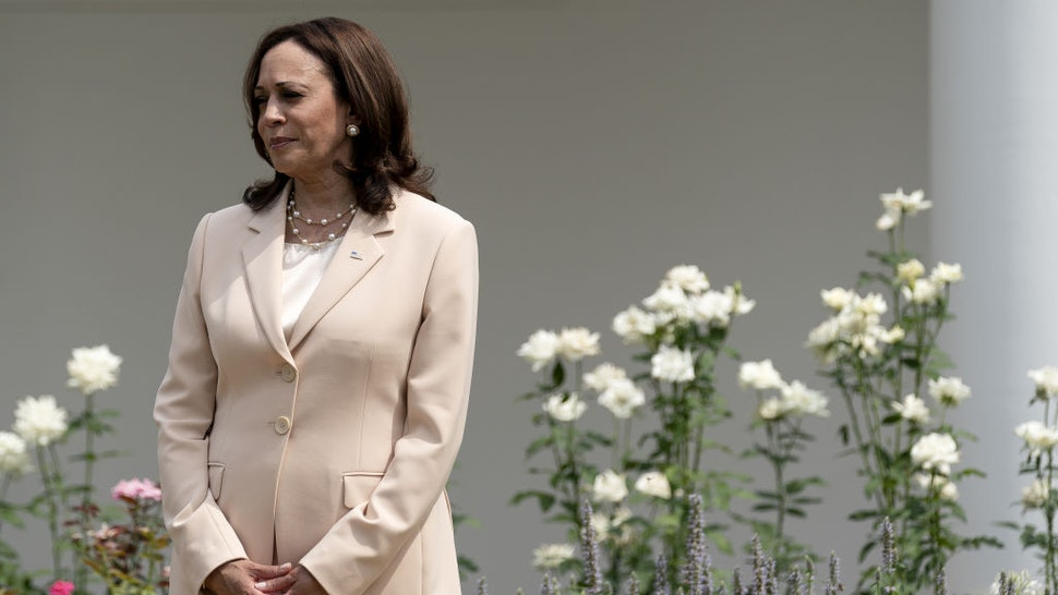 U.S. Vice President Kamala Harris listens during an event marking the 31st anniversary of the Americans with Disabilities Act (ADA) in the Rose Garden of the White House in Washington, D.C., U.S., on Monday, July 26, 2021.
