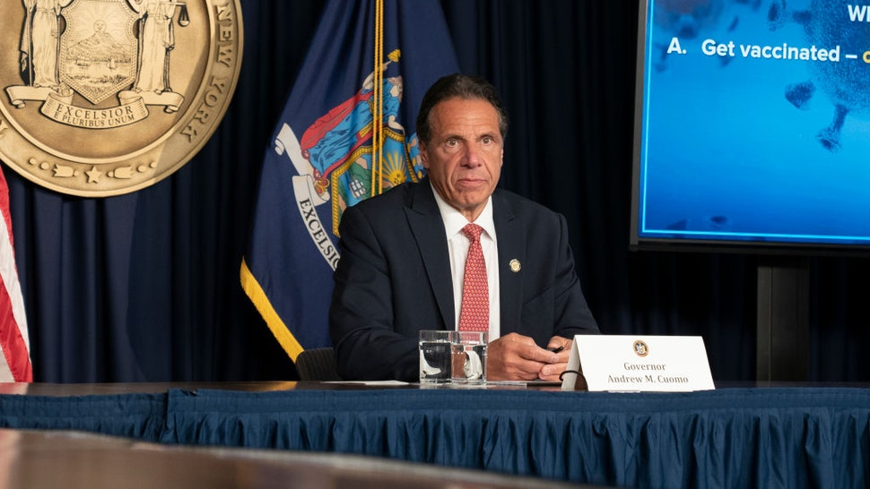 Governor Andrew Cuomo holds press briefing and makes announcement to combat COVID-19 Delta variant at 633 3rd Avenue.