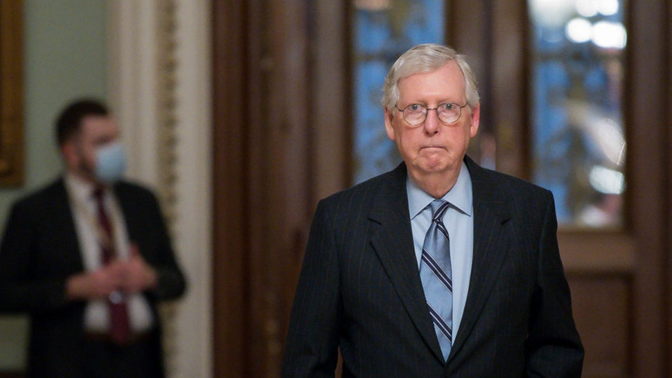 U.S. Senate Minority Leader Mitch McConnell (R-KY) leaves the Senate Chamber in the U.S. Capitol on August 11, 2021 in Washington, DC.