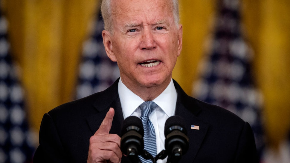 President Joe Biden delivers remarks on the situation in Afghanistan in the East Room of the White House, in Washington, DC.
