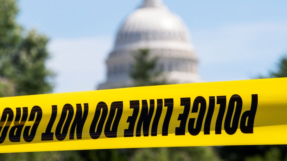 UNITED STATES - AUGUST 19: Police tape is seen on Independence Avenue, SW, during the active threat of a man claiming he has a bomb near the Library of Congress buildings on Thursday, August 19, 2021. (Photo By Tom Williams/CQ-Roll Call, Inc via Getty Images)
