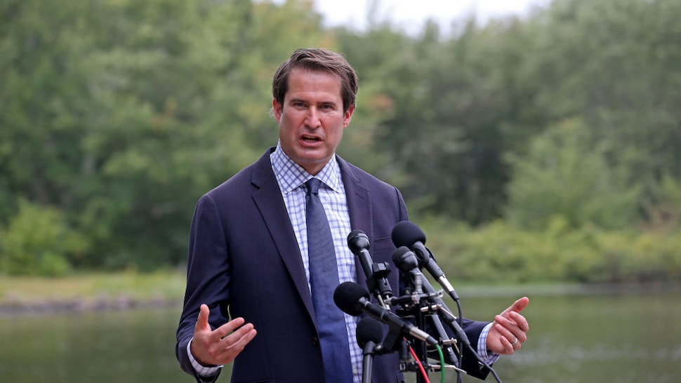 """BEDFORD, MA. - SEPTEMBER 10: Congressman Seth Moulton speaks during a press conference in response to reports of President Trump""""u2019s disparaging comments about U.S. service members who have died in combat on September 10, 2020 in Bedford, Massachusetts. (Staff Photo By Matt Stone/ MediaNews Group/Boston Herald)"""