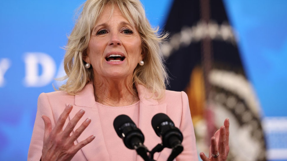 U.S. first lady Jill Biden delivers remarks during an Equal Pay Day event in the South Court Auditorium in the Eisenhower Executive Office Building on March 24, 2021 in Washington, DC.