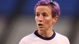 Megan Rapinoe #15 of Team United States looks on during the Women's Semi-Final match between USA and Canada on day ten of the Tokyo Olympic Games at Kashima Stadium on August 02, 2021 in Kashima, Ibaraki, Japan.