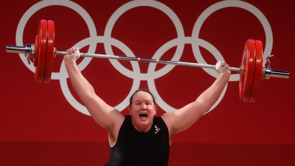 Laurel Hubbard of Team New Zealand competes during the Weightlifting - Women's 87kg+ Group A on day ten of the Tokyo 2020 Olympic Games at Tokyo International Forum on August 02, 2021 in Tokyo, Japan.