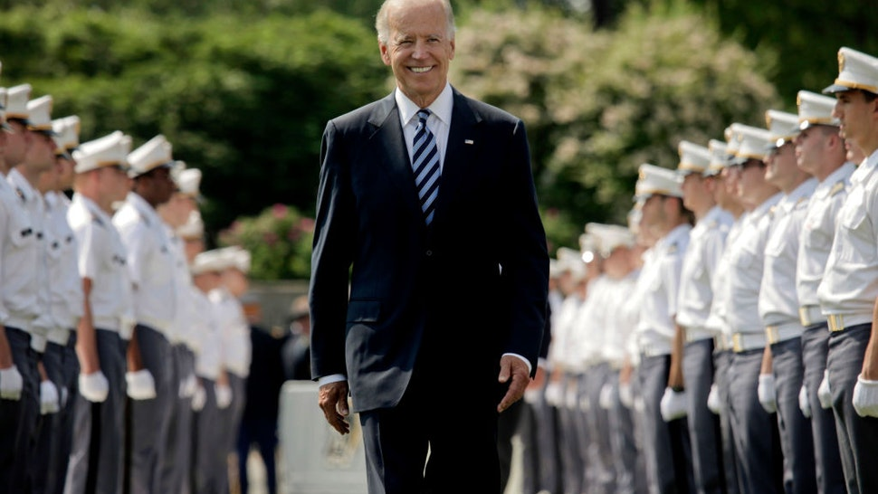U.S. Vice President Joe Biden makes his way down a row of cadets as he arrives to address to graduates of The United States Military Academy at West Point May 26, 2012 in West Point, New York.