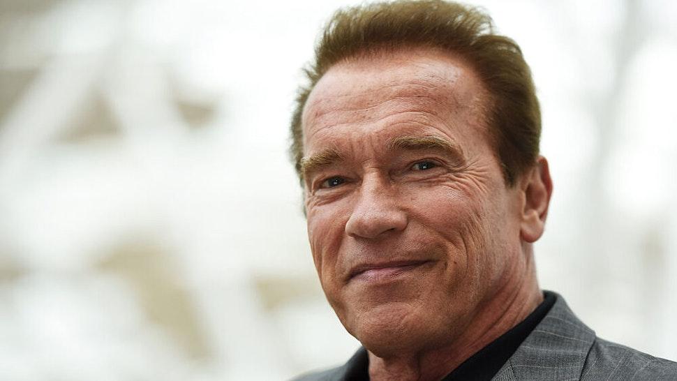 LONDON, ENGLAND - JUNE 17: Arnold Schwarzenegger attends the Fan Footage Event of 'Terminator Genisys' at Vue Westfield on June 17, 2015 in London, England.
