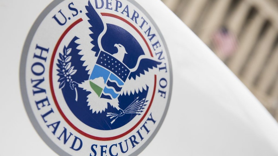 The Department of Homeland Security logo is seen on a law enforcement vehicle in Washington, United States on March 7, 2017.