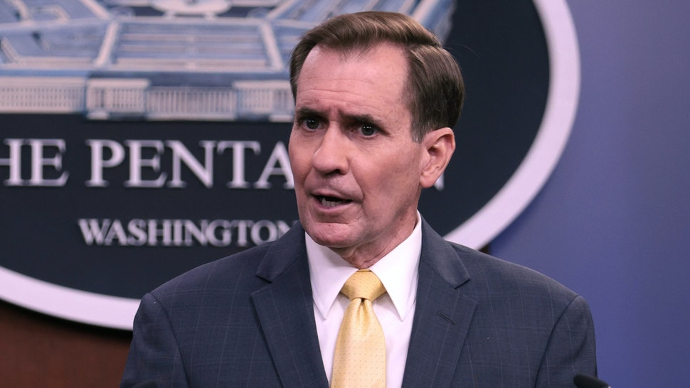 ARLINGTON, VIRGINIA - AUGUST 30: U.S. Department of Defense Press Secretary John Kirby speaks at a press briefing as U.S. Department of Defense Press Secretary John Kirby listens on August 30, 2021 in Arlington, Virginia. As the deadline to withdraw from Kabul, Afghanistan looms, the U.S. military conducted a drone strike against a car packed with explosives and also intercepted rockets aimed at the Hamid Karzai International Airport.