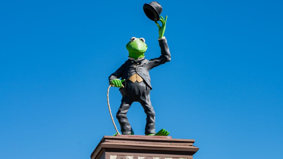 HOLLYWOOD, CA - FEBRUARY 22: General views of Kermit the Frog above the Jim Henson Company studio lot on February 22, 2021 in Hollywood, California. The Jim Henson Company created 'The Muppet Show' which is currently streaming on Disney+.