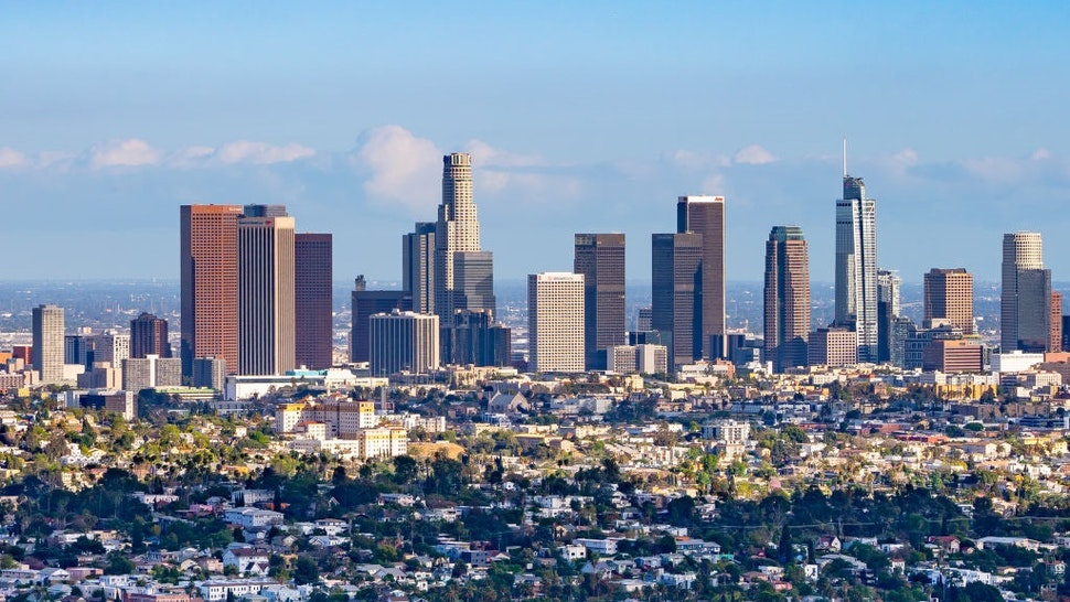 LOS ANGELES, CA - APRIL 26: General view of the Downtown Los Angeles skyline on April 26, 2021 in Los Angeles, California.