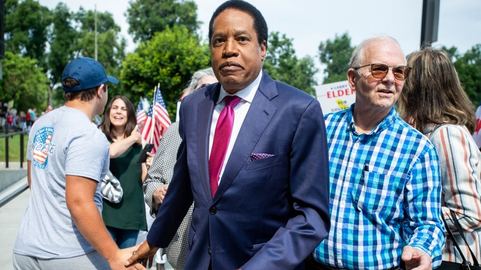 Norwalk, CA - July 13 Larry Elder arrives at the Norwalk Registrar of Voters on Tuesday, July 13, 2021 to file paperwork announcing his run for governor in the California recall election.