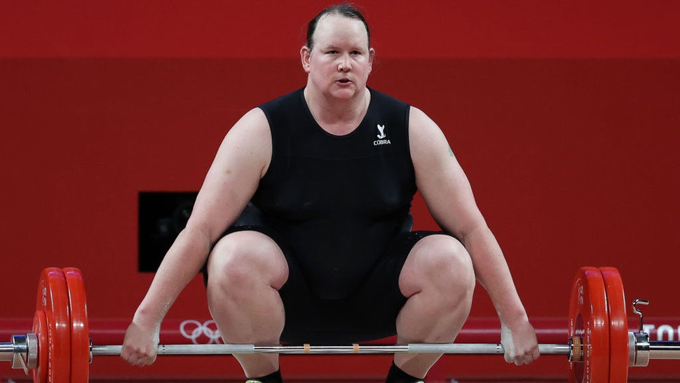 TOKYO, JAPAN - AUGUST 2, 2021: New Zealand's Laurel Hubbard competes in the women's +87kg group A final weightlifting event during the 2020 Summer Olympic Games at the Tokyo International Forum. Laurel Hubbard is the first transgender woman to compete in the Olympics. Stanislav Krasilnikov/TASS (Photo by Stanislav KrasilnikovTASS via Getty Images)