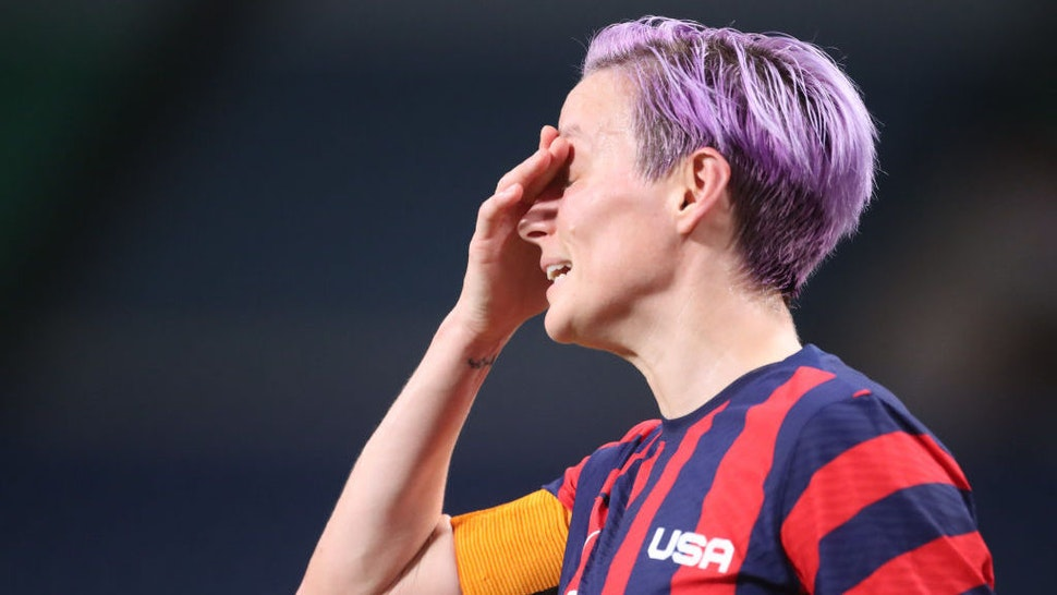 TOKYO, JAPAN - JULY 24: Megan Rapinoe #15 of the United States reacts during the USA V New Zealand group G match at Saitama Stadium at the Tokyo 2020 Summer Olympic Games on July 24, 2021 in Tokyo, Japan. (Photo by Tim Clayton/Corbis via Getty Images)