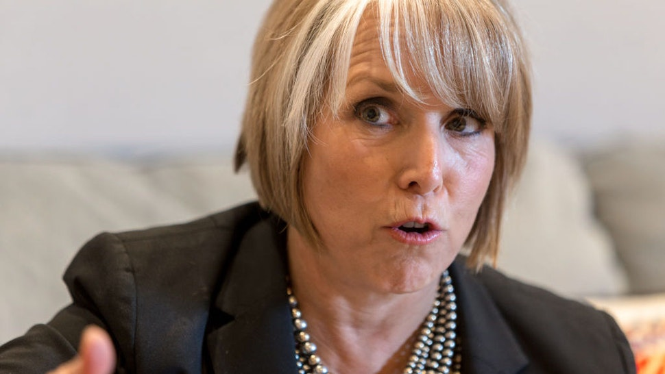 Michelle Lujan Grisham, governor of New Mexico, speaks during an interview at her office in Santa Fe, New Mexico, U.S., on Thursday, Aug. 8, 2019. Lujan Grisham is balancing her concern over the catastrophic effects of climate change with the state's extraordinary dependence on oil and gas. Photographer: Steven St John/Bloomberg