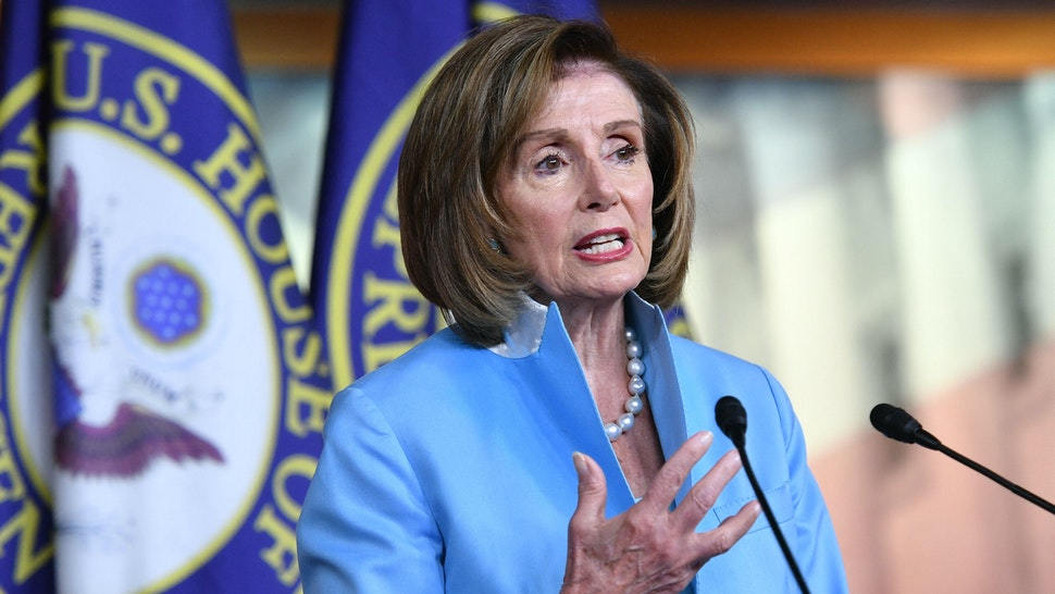 US Speaker of the House, Nancy Pelosi, Democrat of California, speaks during her weekly press briefing on Capitol Hill in Washington, DC, on August 6, 2021.