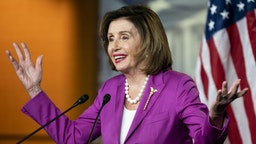 UNITED STATES - JULY 28: Speaker of the House Nancy Pelosi, D-Calif., holds her weekly news conference in the Capitol on Wednesday, July 28, 2021.
