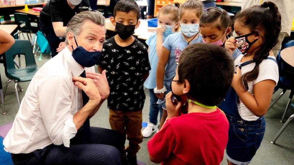 SAN BERNARDINO, CA - AUGUST 06: California Gov. Gavin Newsom meets with first-graders at Juanita B. Jones Elementary in San Bernardino on Friday, Aug. 6, 2021.