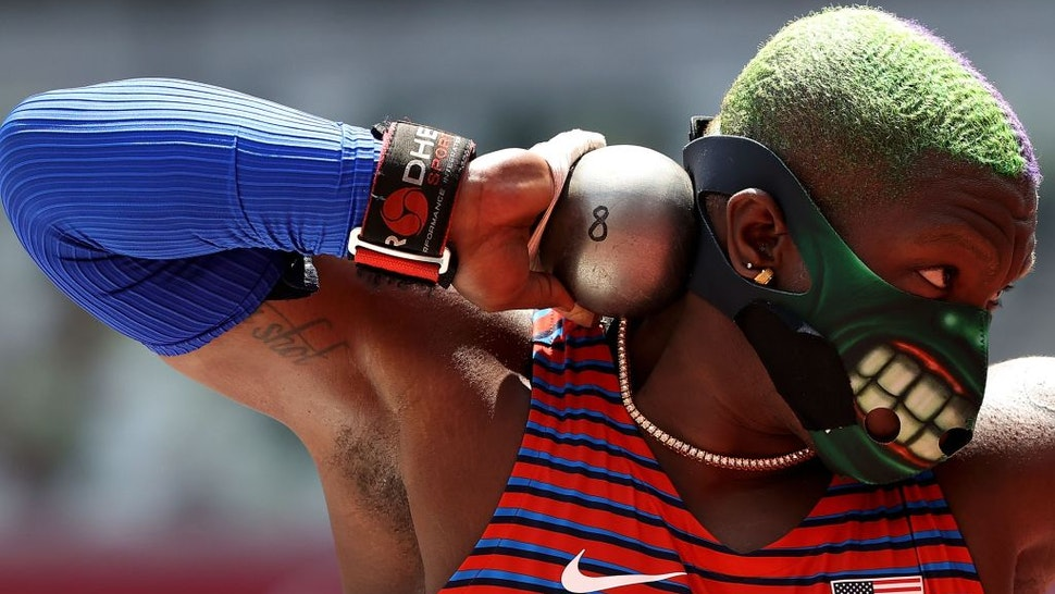 Raven Saunders of the United States competes during the women's shot put final at Tokyo 2020 Olympic Games, in Tokyo, Japan, Aug. 1, 2021. (Photo by Li Ming/Xinhua via Getty Images)