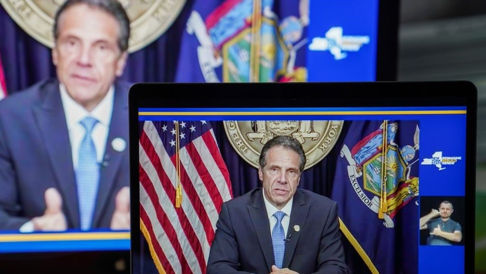 Photo taken from a video in New York, the United States, shows New York Governor Andrew Cuomo speaking during a televised address, on Aug. 10, 2021. New York Governor Andrew Cuomo on Tuesday said he was resigning amid mounting pressures from sexual harassment allegations and investigations as well as calls from other political figures. (Photo by