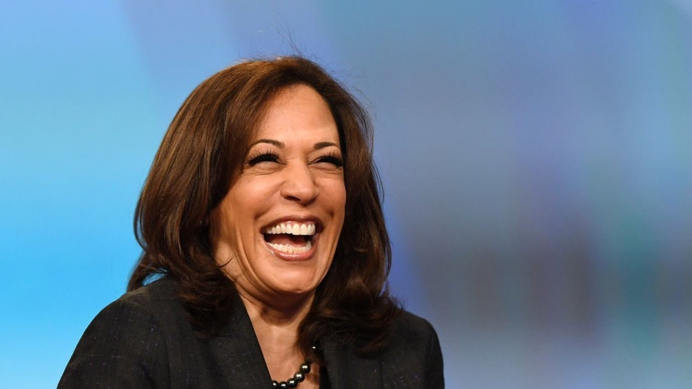 """LAS VEGAS, NEVADA - MARCH 01: U.S. Sen. Kamala Harris (D-CA) laughs while speaking at the """"Conversations that Count"""" event during the Black Enterprise Women of Power Summit at The Mirage Hotel & Casino on March 1, 2019 in Las Vegas, Nevada. Harris is campaigning for the 2020 Democratic nomination for president. (Photo by"""