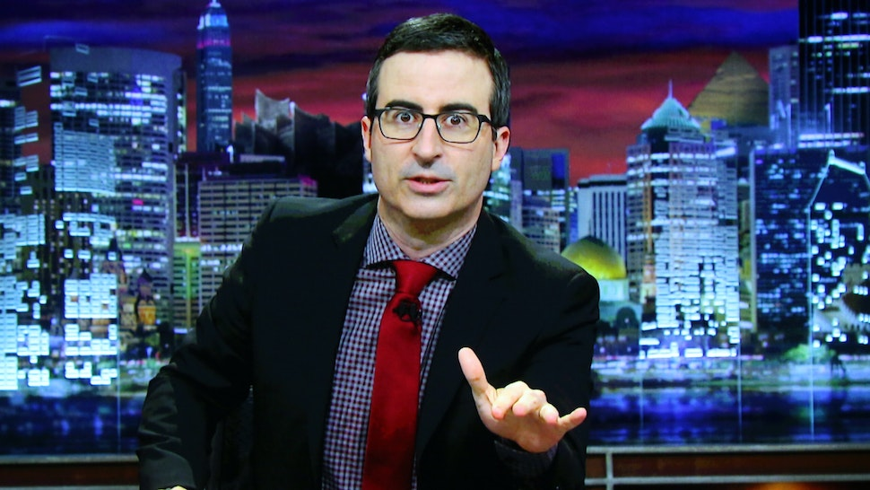John Oliver accepts the TCA Award for Outstanding Achievement in News and Information for 'Last Week Tonight with John Oliver; via video at the 31st annual Television Critics Association Awards at The Beverly Hilton Hotel on August 8, 2015 in Beverly Hills, California.