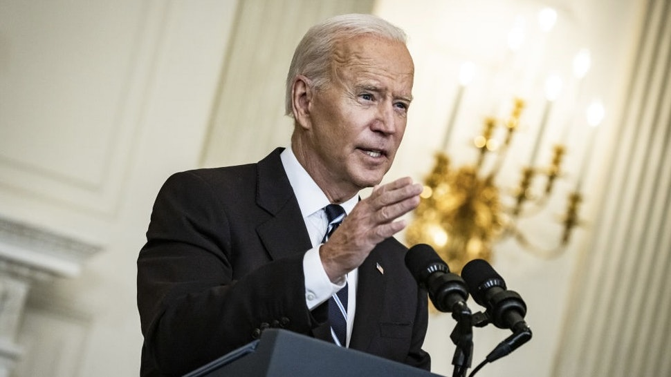 President Biden Delivers Remarks On Covid-19 And Vaccinations U.S. President Joe Biden speaks in the State Dining Room of the White House in Washington, D.C., U.S., on Thursday, Sept. 9, 2021. Biden will order all executive branch employees, federal contractors and millions of health-care workers to be vaccinated against the coronavirus, and direct his administration to issue new rules saying large private employers must require shots or testing. Photographer: Samuel Corum/Bloomberg via Getty Images Bloomberg / Contributor