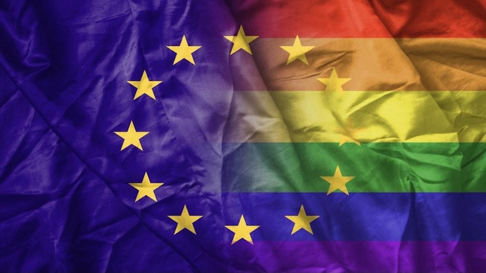 EU and rainbow gay pride flag - stock photo EU and rainbow gay pride flag Martinns via Getty Images