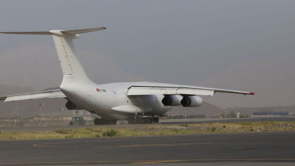 KABUL, AFGHANISTAN - SEPTEMBER 03: United Arab Emirates plane carrying, food and medicine, departs from Kabul Airport after Taliban takeover on September 03, 2021 in Kabul, Afghanistan.