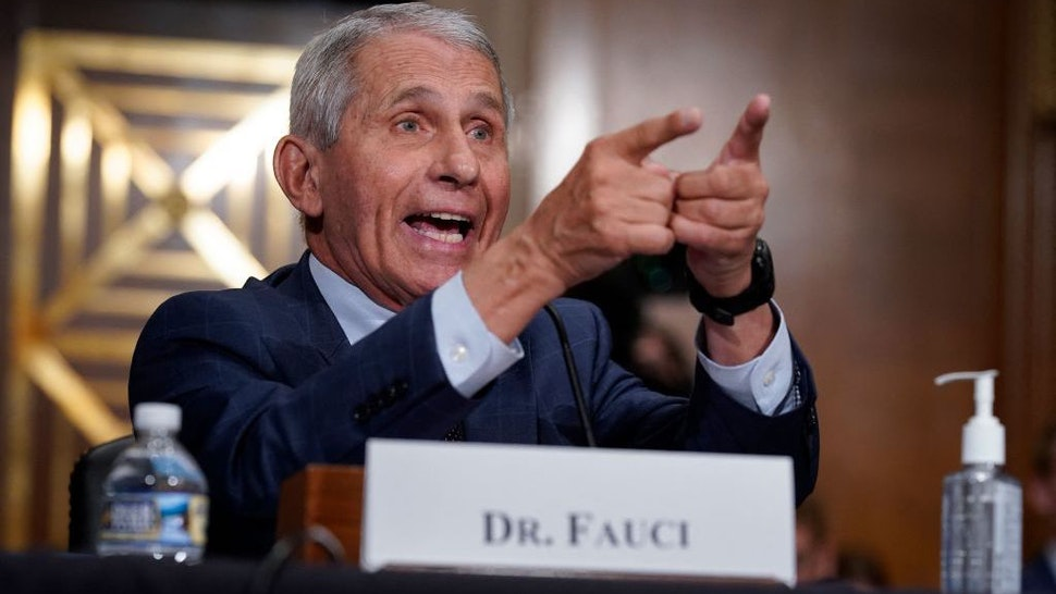 Dr. Anthony Fauci responds to accusations by Sen. Rand Paul, R-KY, as he testifies during the Senate Health, Education, Labor, and Pensions Committee hearing on Capitol Hill in Washington,DC on July 20, 2021. (Photo by J. Scott Applewhite / POOL / AFP) (Photo by J. SCOTT APPLEWHITE/POOL/AFP via Getty Images)