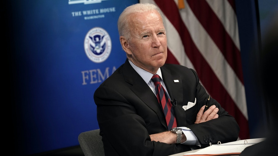 U.S. President Joe Biden during a virtual Hurricane Ida briefing at the White House in Washington, D.C, U.S, on Monday, Aug. 30, 2021. Bidenvowed Monday to continue providing federal support in the aftermath of Hurricane Ida, which made landfall south of New Orleans and has left more than a million homes and businesses without power.
