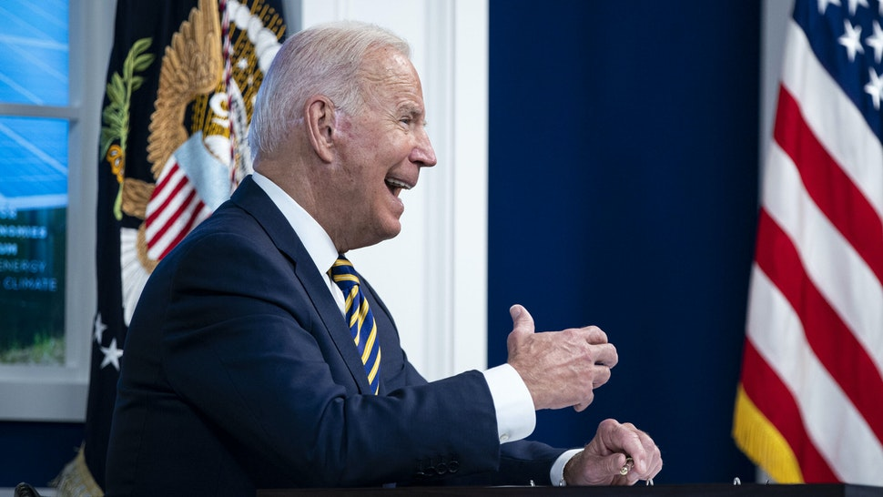 WASHINGTON, DC - SEPTEMBER 17: U.S. President Joe Biden speaks during a conference call on climate change with the Major Economies Forum on Energy and Climate in the South Court Auditorium in the Eisenhower Executive Office Building on September 17, 2021 in Washington, DC.