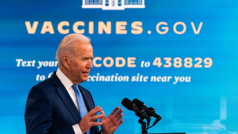 WASHINGTON, DC August 23, 2021: US President Joe Biden delivers remarks on the COVID vaccine in the South Court Auditorium at the White House on August 23, 2021.