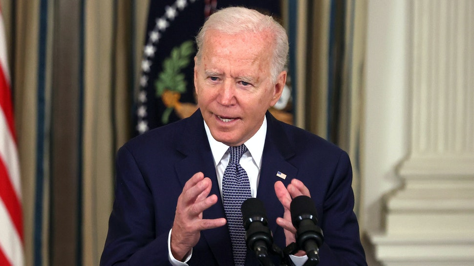 WASHINGTON, DC - SEPTEMBER 03: U.S. President Joe Biden delivers remarks on the August jobs numbers in the State Dining Room at the White House on September 03, 2021 in Washington, DC. According to the Labor Department, the U.S. added 230,000 jobs in the month of August, an unexpected slowdown due in part to the latest Covid-19 surge.